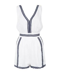 Parisian White Embroidered Trim Playsuit | New Look