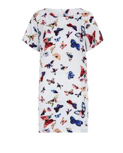 Blue Vanilla White Butterfly Print Shift Dress | New Look