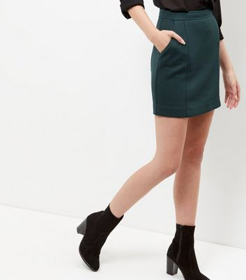 Dark Green Textured Skirt
