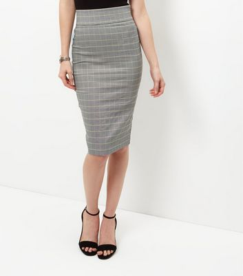 Gonna  donna Black Check Bengaline Pencil Skirt