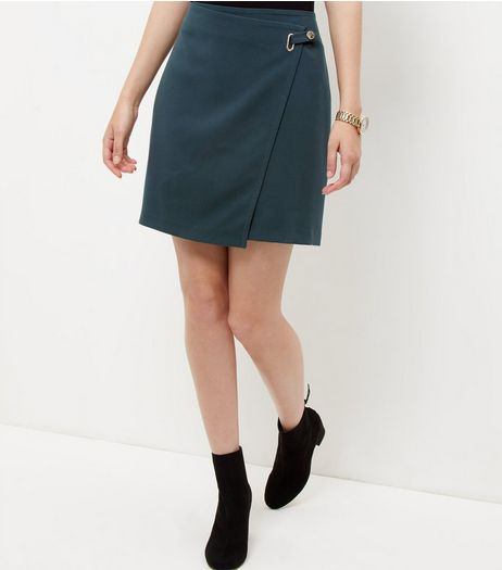 Dark Green Ring Strap Wrap Front Mini Skirt  | New Look