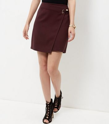 Burgundy Ring Strap Wrap Front Mini Skirt