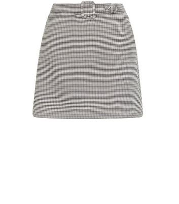 Brown Check Print Belted Mini Skirt