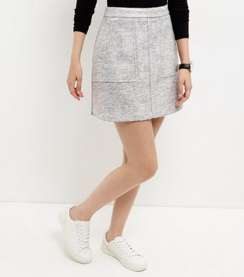 Gonna  donna Grey Double Pocket A-Line Skirt