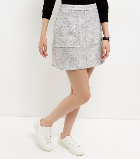 Grey Double Pocket A-Line Skirt  | New Look