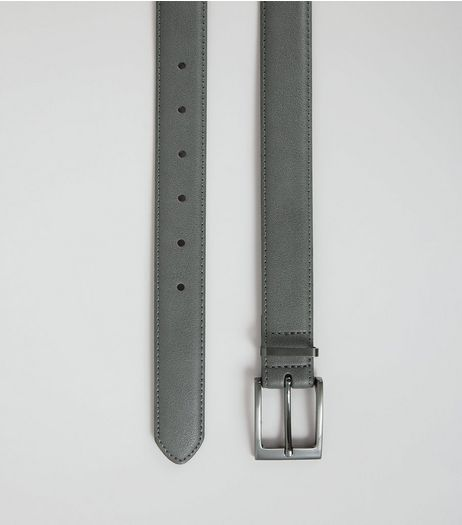Grey Leather Look Belt | New Look
