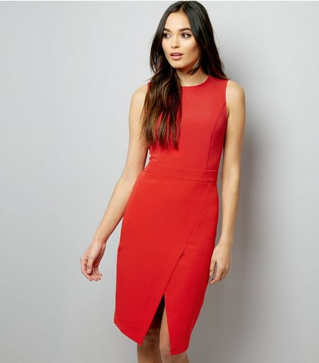 Red Wrap Hem Crepe Dress | New Look