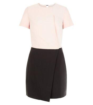 black-contrast-wrap-front-mini-dress