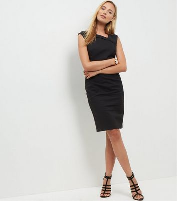 black-pleat-neck-pencil-dress