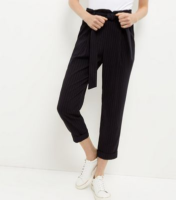 Navy Pinstripe Tie Waist Tapered Trousers