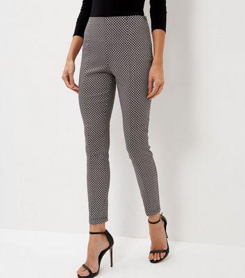 Black Geo Print Bengaline Slim Leg Trousers