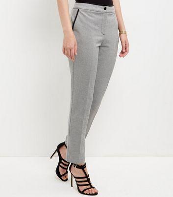 Grey Contrast Trim Slim Leg Trousers