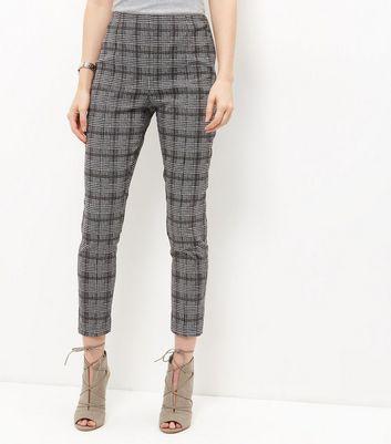 Black Check Slim Leg Trousers