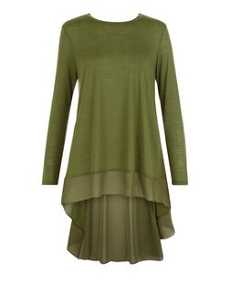 Blue Vanilla Khaki Chiffon Dip Hem Top  | New Look