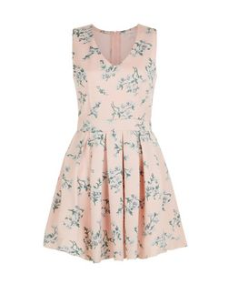 Blue Vanilla Pink Floral Print Mesh Panel Skater Dress | New Look