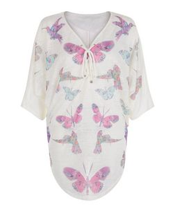 Blue Vanilla Pink Butterfly Print Batwing Top | New Look