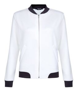 Teens White Contrast Panel Bomber Jacket | New Look