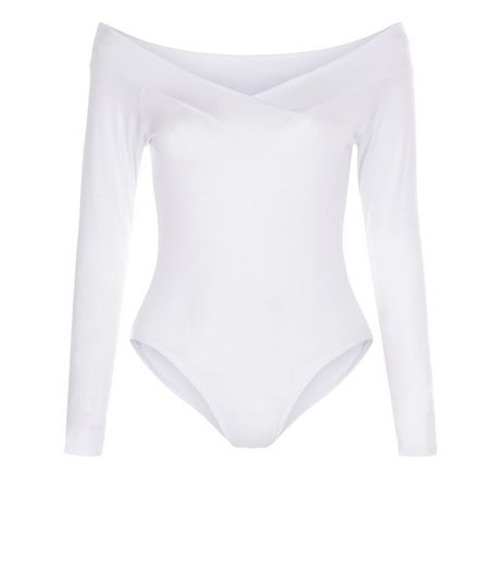Blue Vanilla White Bardot V Neck Bodysuit  | New Look