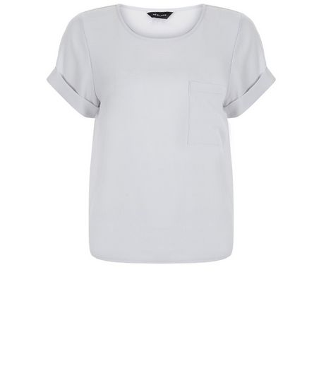 Grey Boxy Roll Sleeve T-Shirt  | New Look