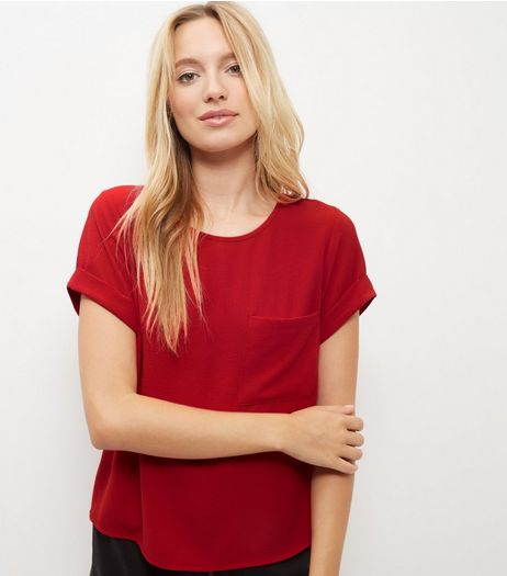 Red Boxy Roll Sleeve T-Shirt  | New Look