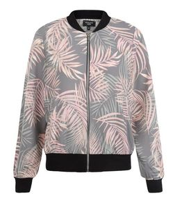 Petite Grey Tropical Print Bomber Jacket  | New Look