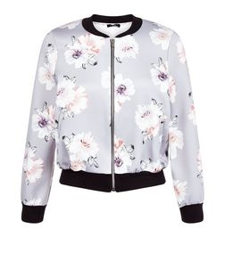 Petite Grey Floral Print Bomber Jacket  | New Look