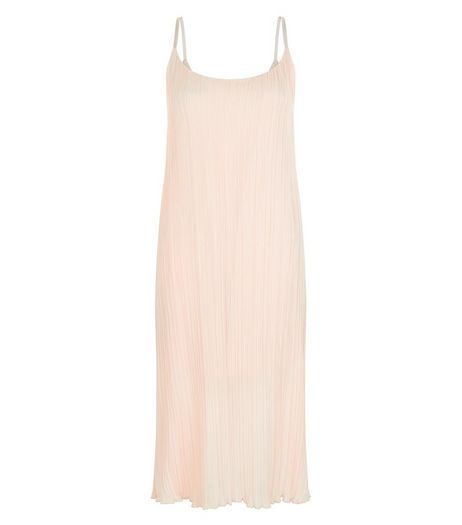 Shell Pink Pleated Strappy Midi Dress  | New Look