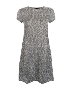 Grey Contrast Ribbed Fine Knit Swing Dress  | New Look