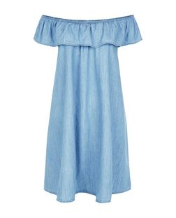 Blue Frill Trim Denim Dress  | New Look