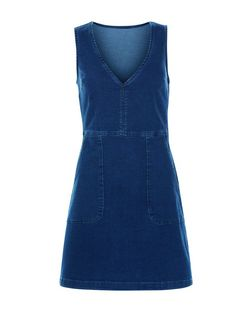 Dark Blue Denim V Neck Shift Dress  | New Look