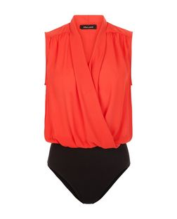 Red Wrap Front Sleeveless Bodysuit  | New Look