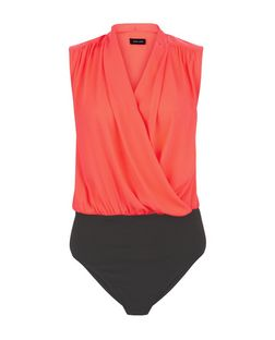 Bright Pink Wrap Sleeveless Bodysuit | New Look