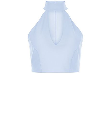 Blue Funnel Neck Cut Out Crop Top | New Look