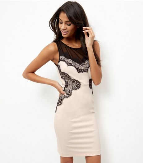 Shell Pink Mesh Panel Lace Trim Bodycon Dress | New Look