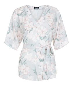 Light Grey Tropical Print Belted Blouse | New Look