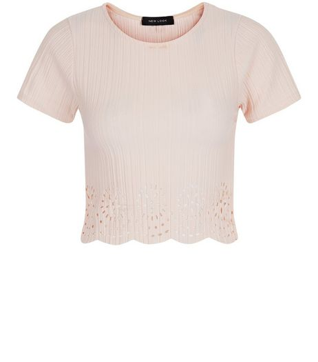 Shell Pink Laser Cut Out Crop Top | New Look