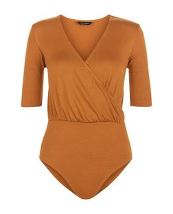 Tan Wrap Front 1/2 Sleeve Bodysuit  | New Look