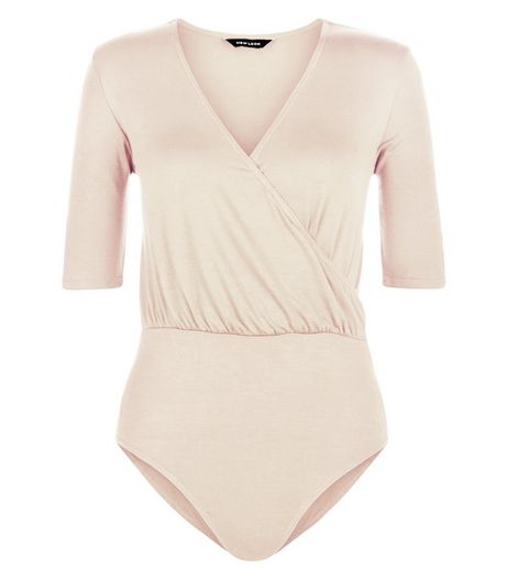 Shell Pink Wrap Front 1/2 Sleeve Bodysuit  | New Look