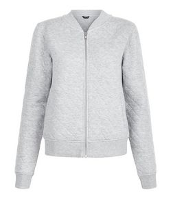 Grey Quilted Baseball Jacket  | New Look