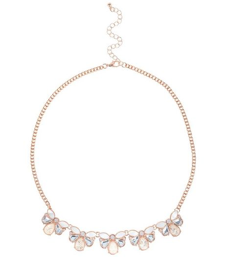 Rose Gold Flecked Stone Necklace | New Look
