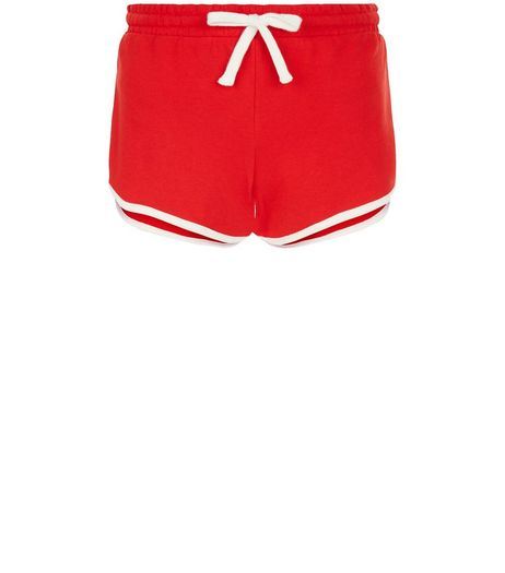 Red Contrast Trim Runner Shorts | New Look