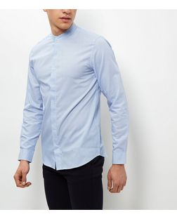 Jack and Jones Blue Grandad Collar Shirt | New Look