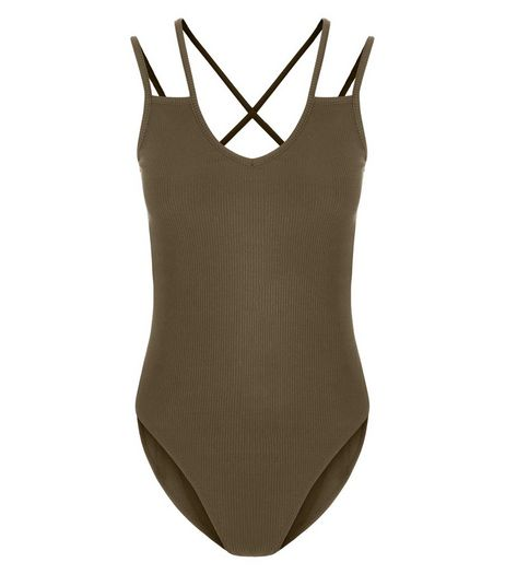 Khaki Multi Strap Bodysuit  | New Look