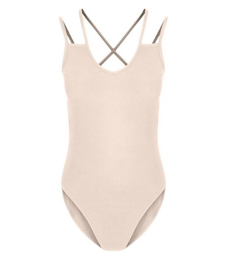 Shell Pink Multi Strap Bodysuit  | New Look
