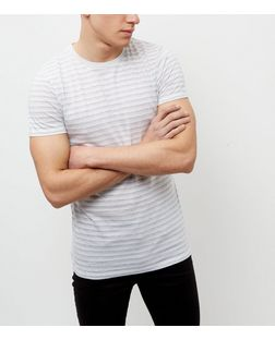 Jack and Jones White Stripe Short Sleeve T-Shirt | New Look