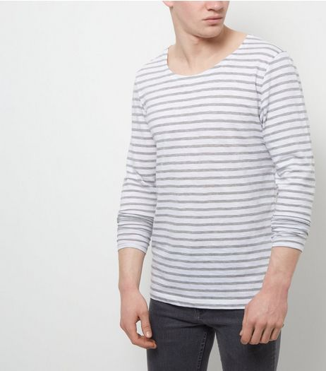 Jack and Jones Premium White Stripe Long Sleeve Top | New Look