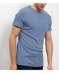 Jack and Jones Blue Stripe Pocket Short Sleeve T-Shirt | New Look
