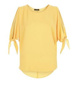 Yellow Cold Shoulder Tie Sleeve Top  | New Look