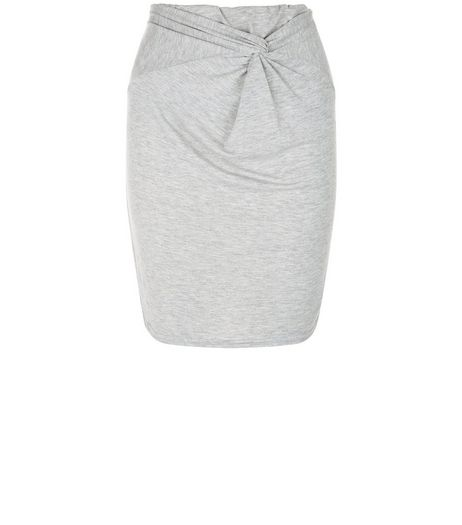 Grey Knot Front Tube Skirt  | New Look