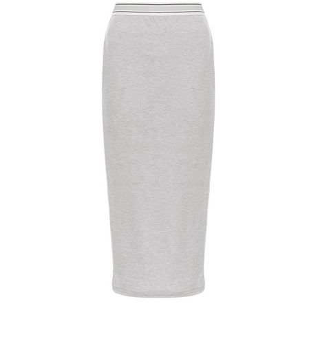Grey Ribbed Elastic Trim Pencil Skirt | New Look